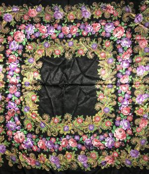 Saténová šatka s kvetinovým vzorom - čierna